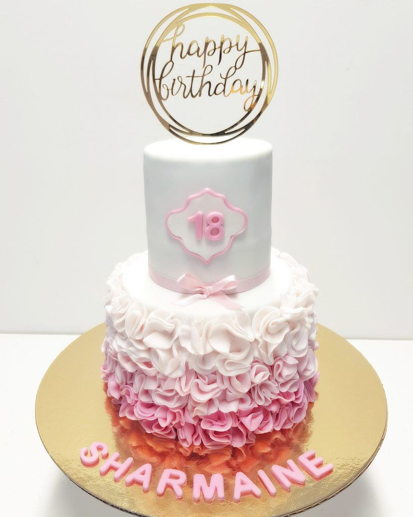 rosa Geburtstagstorte von Atelier Gourmet in Meerbusch und Düsseldorf